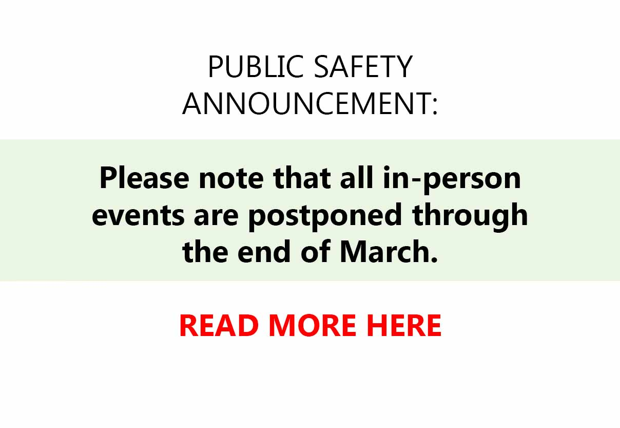 PLEASE NOTE: At this time, we have postponed all in-person events as a public health measure. We continue to monitor the situation and will update you with changes. In the meantime, please continue to follow CDC and health department guidelines to prevent spread of COVID-19 illness. This includes: current social distancing, practicing good hand hygiene, avoidance of touching your face with unwashed hands, and staying home if sick. Please visit the CDC.gov for additional information. SCBWI REFUND POLICY For the time being, SCBWI has revised its refund policy for in-person events through the end of August to allow cancellation without penalty if needed. If you or a member of your family are or have been sick, and you therefore cannot attend an event, you will be able to receive a full tuition refund up until the day of the event so that you can stay home, take care of yourself and your family, and prevent the spread of illness. If you or a member of your family has a condition which compromises their immunity defenses, you may also request a refund should you choose to stay home.