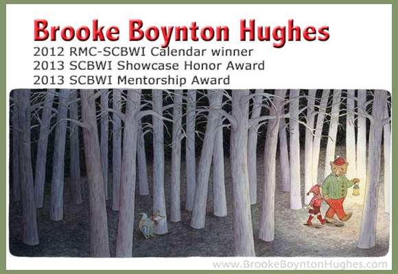 This is the winning image from 2012 which appears on our 2013 Fall Conference brochure and is featured in a calendar that faculty received. Brooke also was the recipient of an Honor Award and the Mentorship Award at the 2013 SCBWI International Conference in Los Angeles. You rock, Brooke!