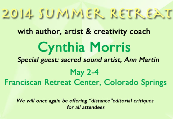 Join us for a quiet getaway to rejuvenate your creativity! Click here for more information and to register.